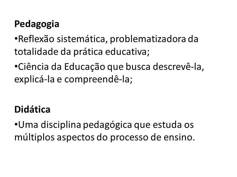 Pedagogia Reflexão sistemática, problematizadora da totalidade da prática educativa; Ciência da Educação que busca descrevê-la, explicá-la e compreend