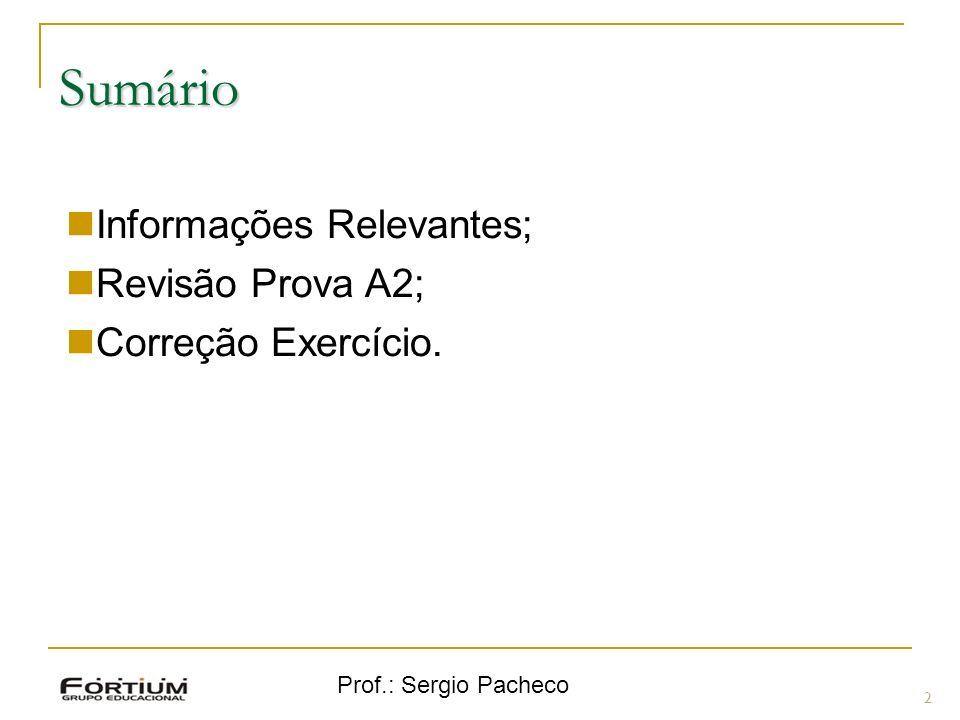 Prof.: Sergio Pacheco Informações Relevantes 3 Ninguém pode entrar com mais de 15 min de tempo decorrido de prova; Ninguém pode sair do local da prova antes de 1 hora de prova.