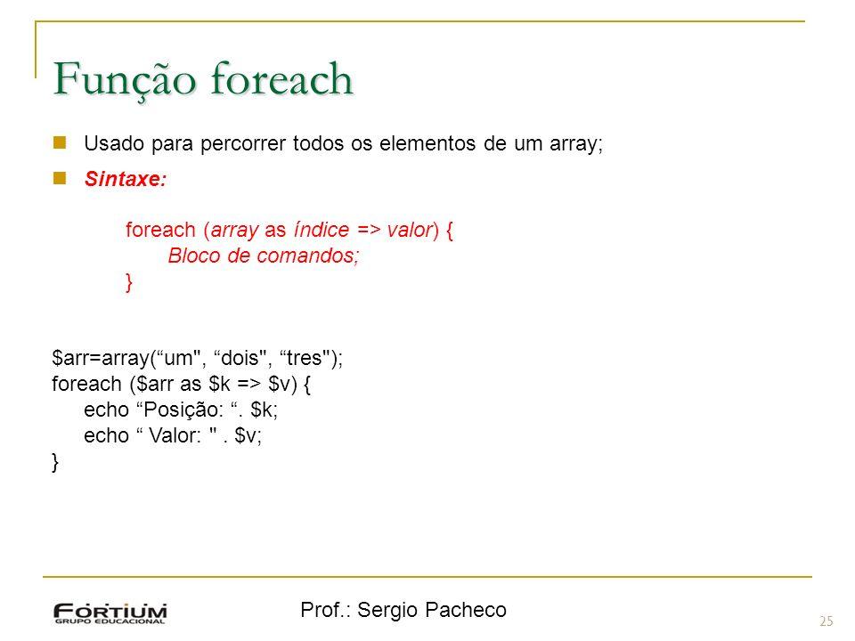 Prof.: Sergio Pacheco 25 Função foreach Usado para percorrer todos os elementos de um array; Sintaxe: foreach (array as índice => valor) { Bloco de co