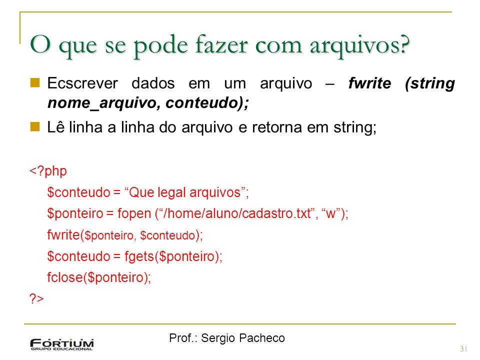 Prof.: Sergio Pacheco 31 O que se pode fazer com arquivos? Ecscrever dados em um arquivo – fwrite (string nome_arquivo, conteudo); Lê linha a linha do