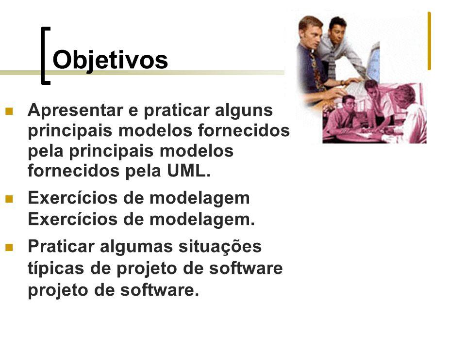 Objetivos Apresentar e praticar alguns principais modelos fornecidos pela principais modelos fornecidos pela UML. Exercícios de modelagem Exercícios d