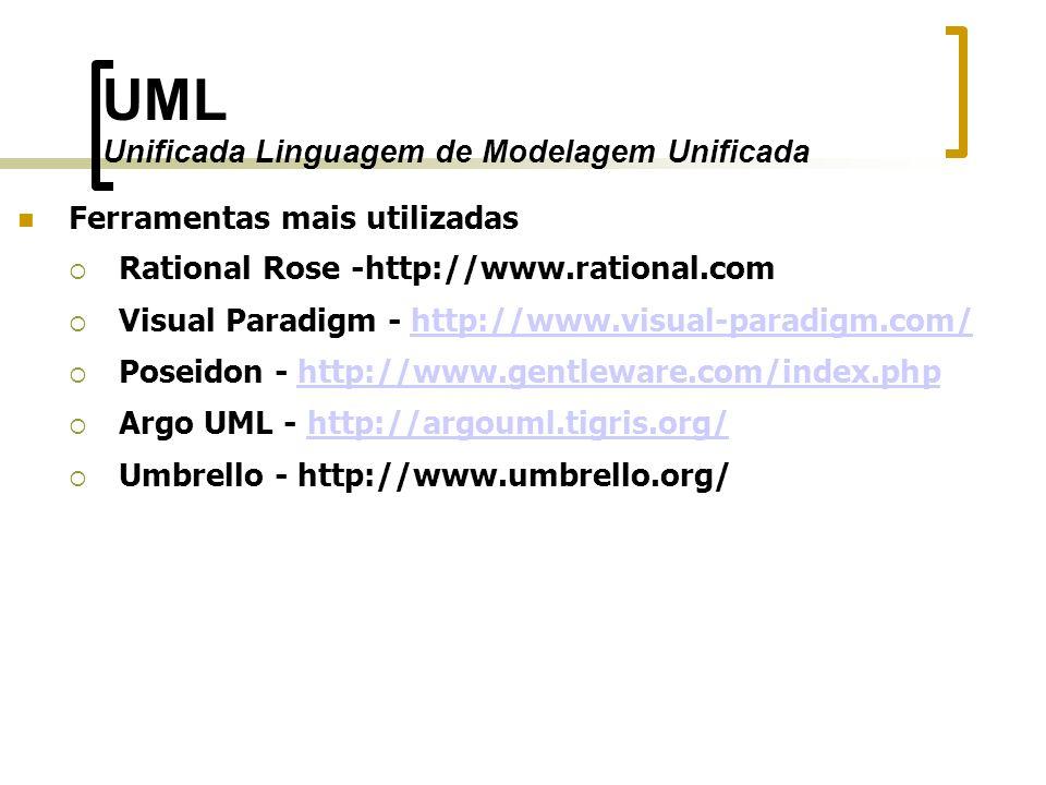 UML Unificada Linguagem de Modelagem Unificada Ferramentas mais utilizadas Rational Rose -http://www.rational.com Visual Paradigm - http://www.visual-