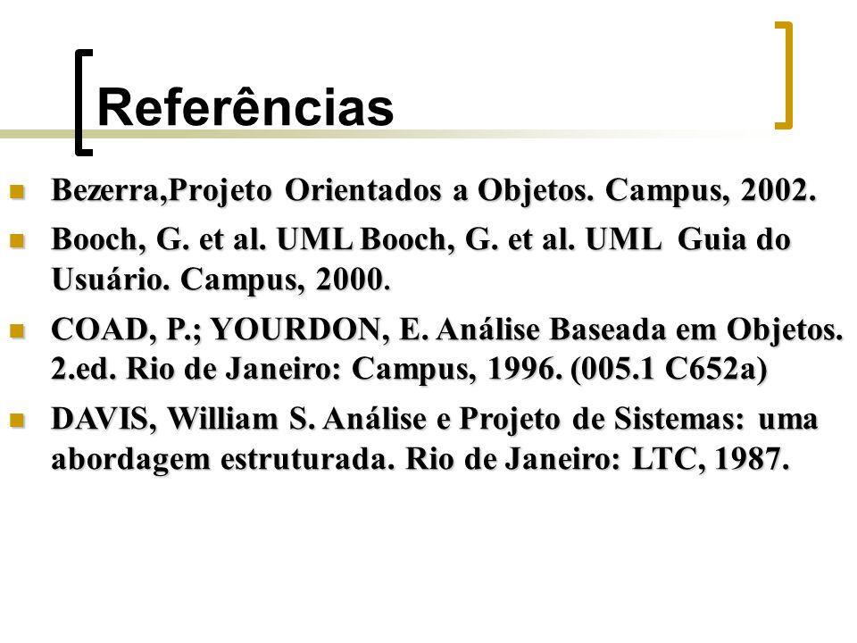 Referências Bezerra,Projeto Orientados a Objetos. Campus, 2002. Bezerra,Projeto Orientados a Objetos. Campus, 2002. Booch, G. et al. UML Booch, G. et