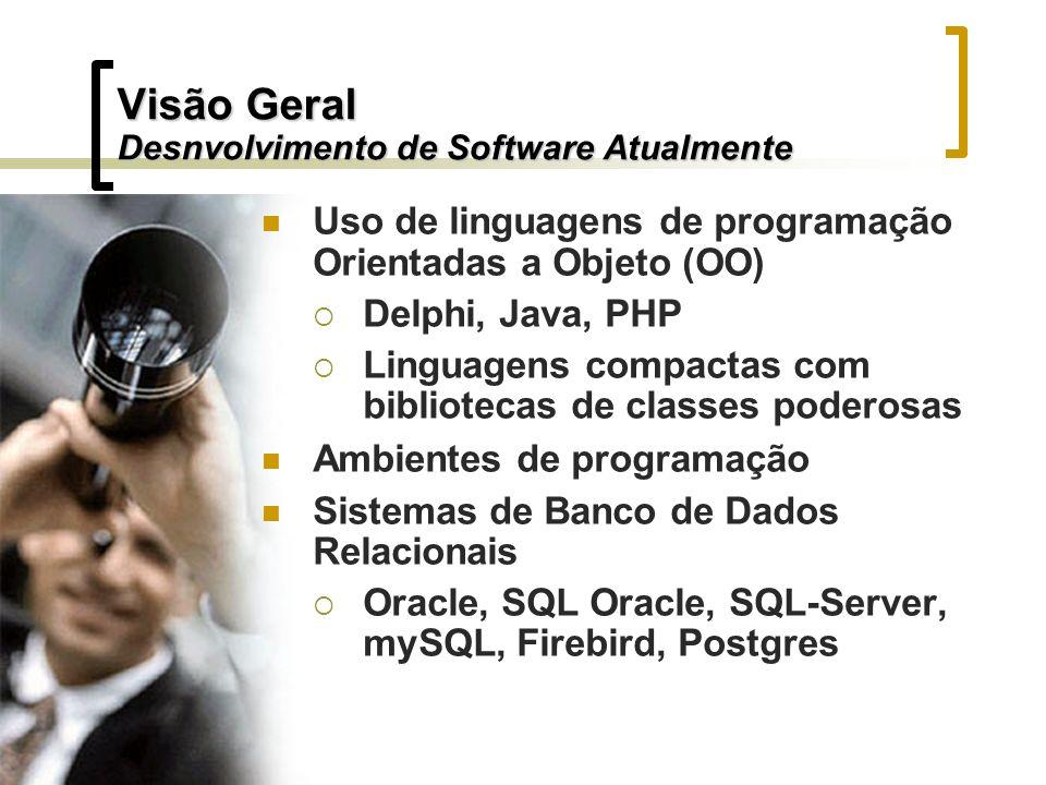Visão Geral Desnvolvimento de Software Atualmente Uso de linguagens de programação Orientadas a Objeto (OO) Delphi, Java, PHP Linguagens compactas com