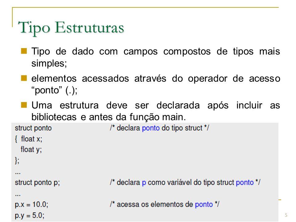 Prof.: Sergio Pacheco Tipo Estruturas 5 Tipo de dado com campos compostos de tipos mais simples; elementos acessados através do operador de acesso pon