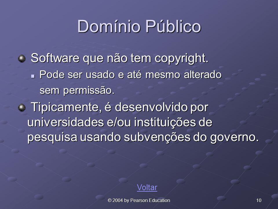 10© 2004 by Pearson Education Domínio Público Software que não tem copyright. Software que não tem copyright. Pode ser usado e até mesmo alterado Pode