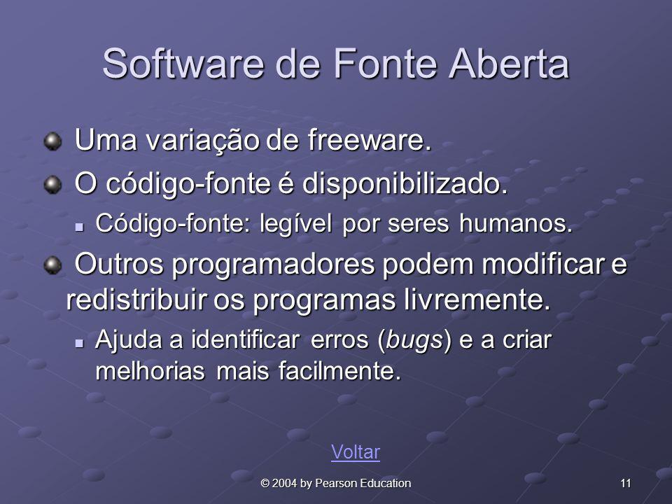 11© 2004 by Pearson Education Software de Fonte Aberta Uma variação de freeware. Uma variação de freeware. O código-fonte é disponibilizado. O código-