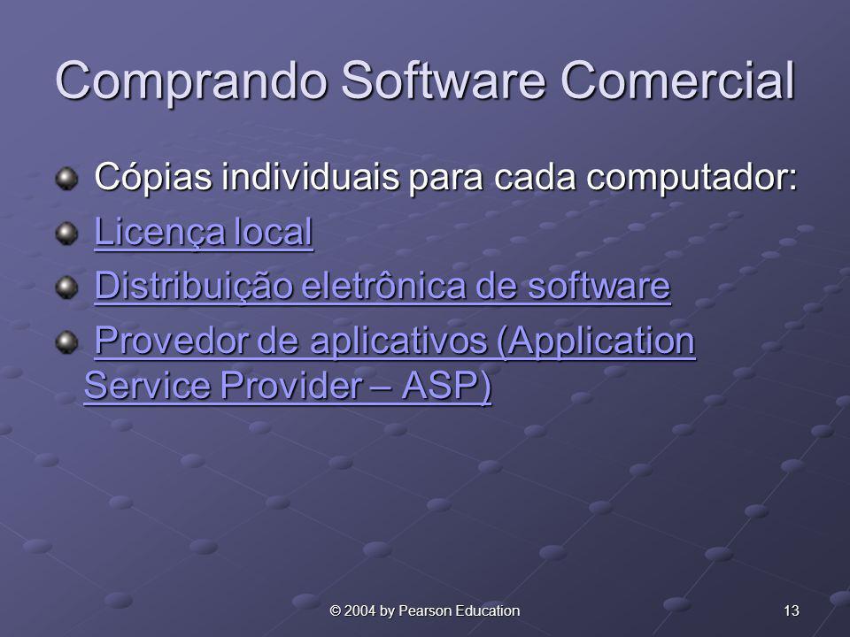 13© 2004 by Pearson Education Comprando Software Comercial Cópias individuais para cada computador: Cópias individuais para cada computador: Licença l