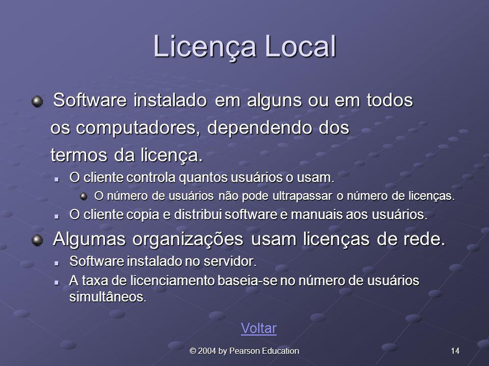 14© 2004 by Pearson Education Licença Local Software instalado em alguns ou em todos Software instalado em alguns ou em todos os computadores, depende