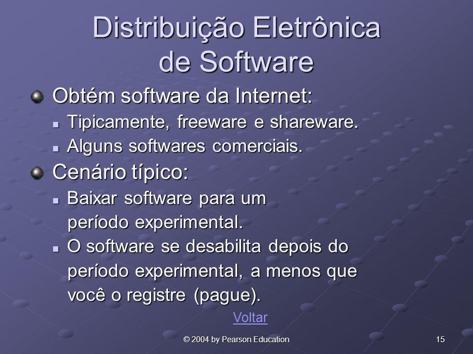 15© 2004 by Pearson Education Distribuição Eletrônica de Software Obtém software da Internet: Obtém software da Internet: Tipicamente, freeware e shar