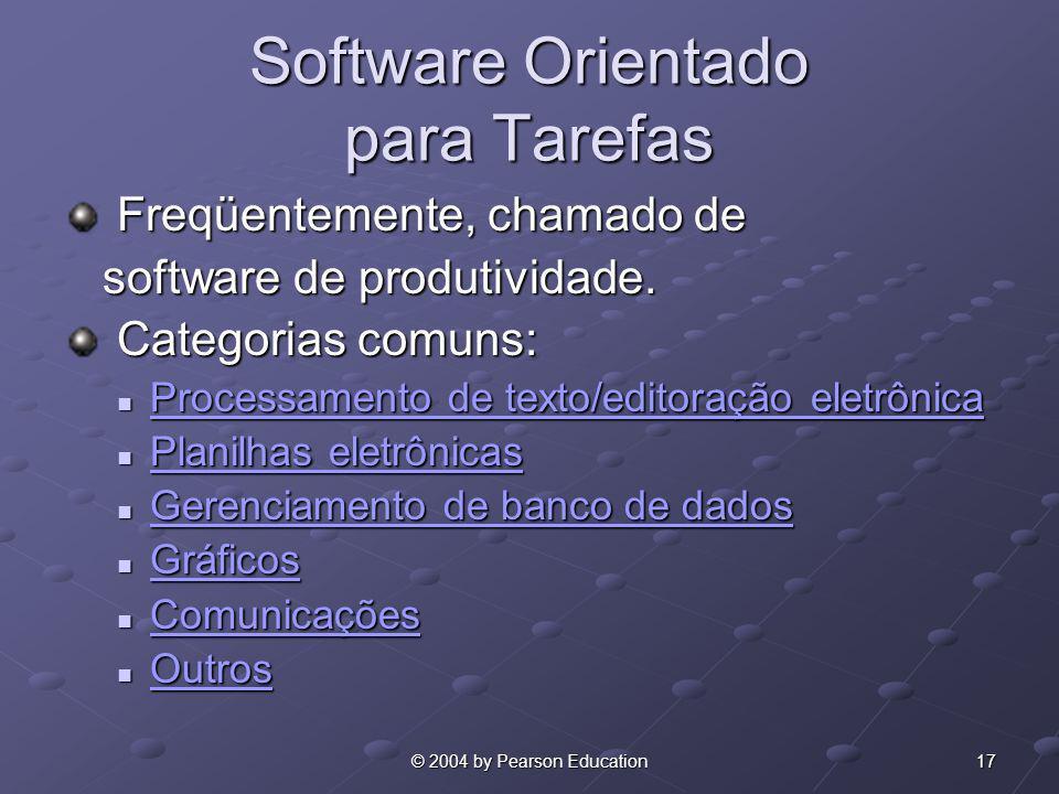 17© 2004 by Pearson Education Software Orientado para Tarefas Freqüentemente, chamado de Freqüentemente, chamado de software de produtividade. softwar