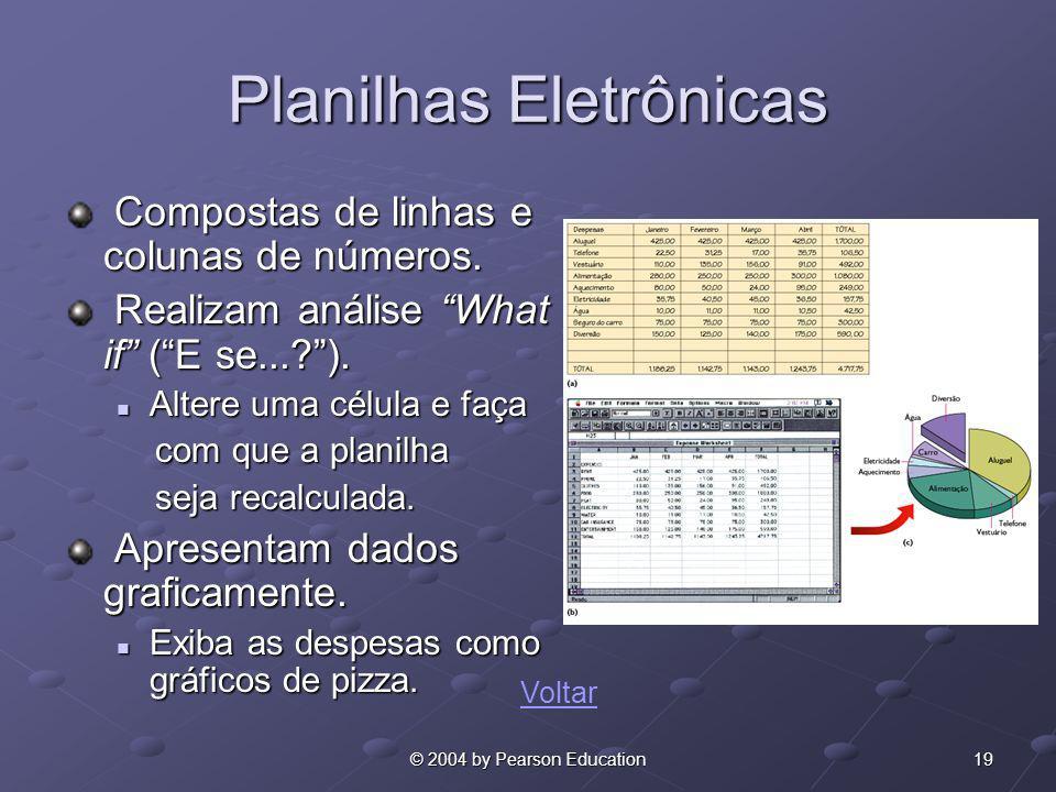 19© 2004 by Pearson Education Planilhas Eletrônicas Compostas de linhas e colunas de números. Compostas de linhas e colunas de números. Realizam análi
