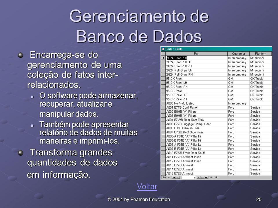 20© 2004 by Pearson Education Gerenciamento de Banco de Dados Encarrega-se do gerenciamento de uma coleção de fatos inter- relacionados. Encarrega-se