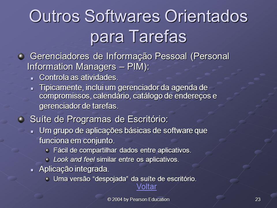 23© 2004 by Pearson Education Outros Softwares Orientados para Tarefas Gerenciadores de Informação Pessoal (Personal Information Managers – PIM): Gere