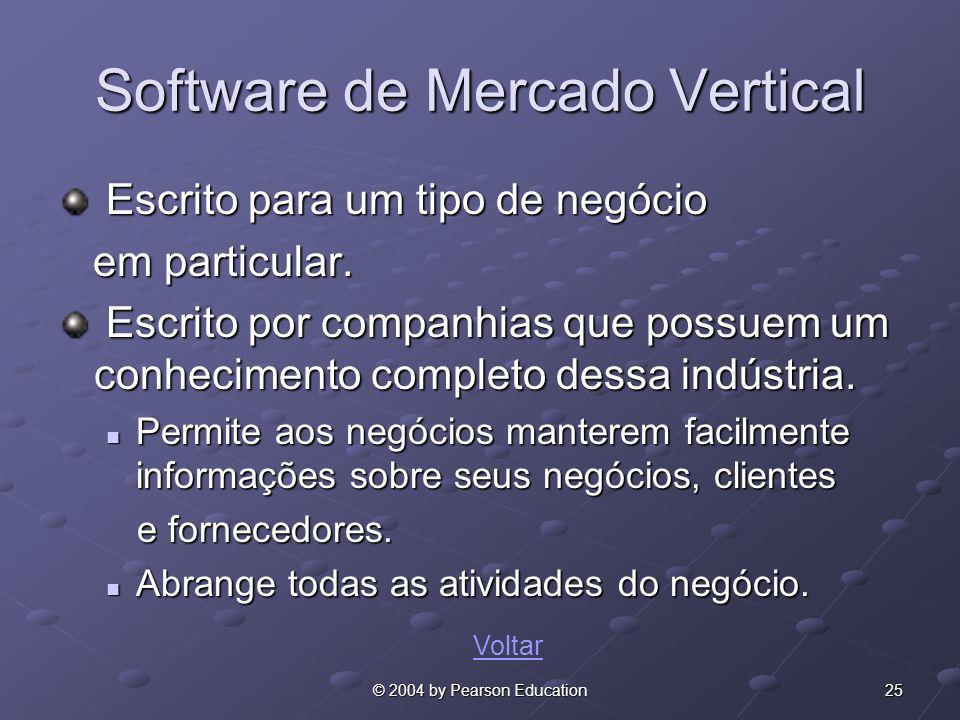 25© 2004 by Pearson Education Software de Mercado Vertical Escrito para um tipo de negócio Escrito para um tipo de negócio em particular. em particula