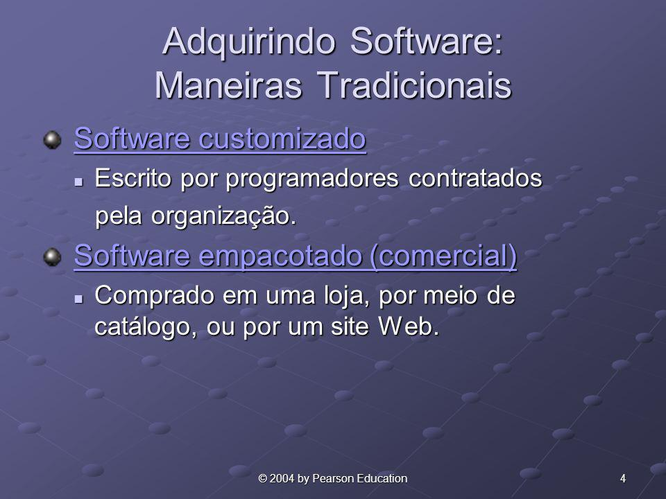 4© 2004 by Pearson Education Adquirindo Software: Maneiras Tradicionais Software customizado Software customizadoSoftware customizadoSoftware customiz