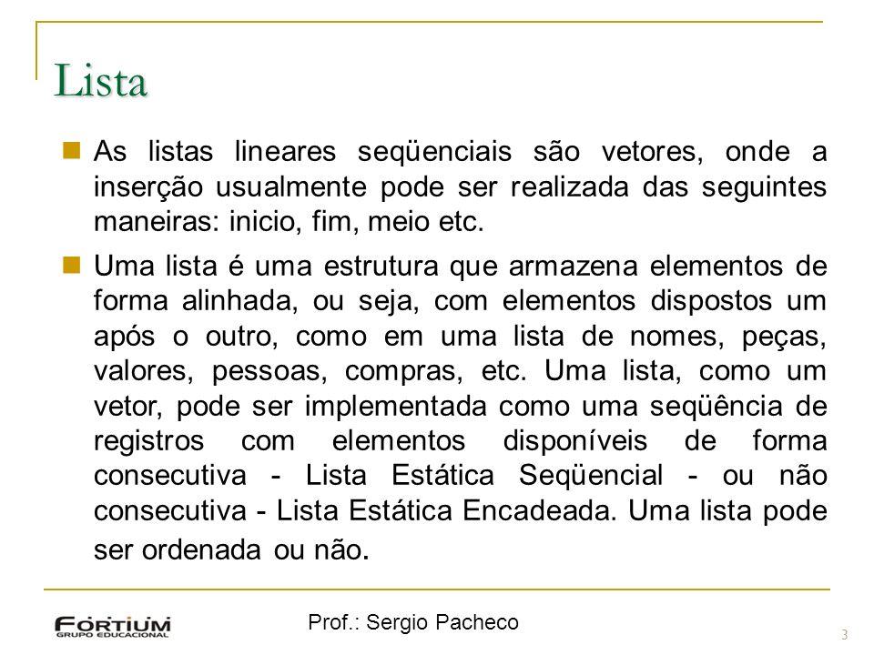 Prof.: Sergio Pacheco Lista 3 As listas lineares seqüenciais são vetores, onde a inserção usualmente pode ser realizada das seguintes maneiras: inicio