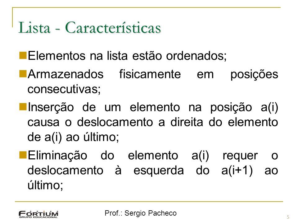 Prof.: Sergio Pacheco Lista - Características 5 Elementos na lista estão ordenados; Armazenados fisicamente em posições consecutivas; Inserção de um e