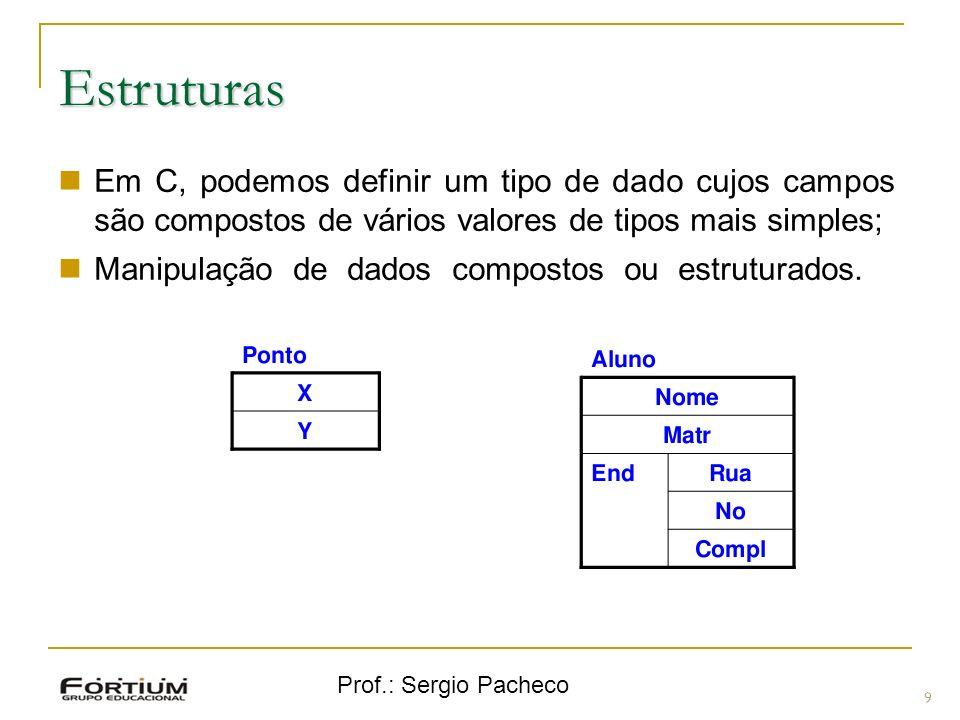 Prof.: Sergio Pacheco Estruturas 9 Em C, podemos definir um tipo de dado cujos campos são compostos de vários valores de tipos mais simples; Manipulaç