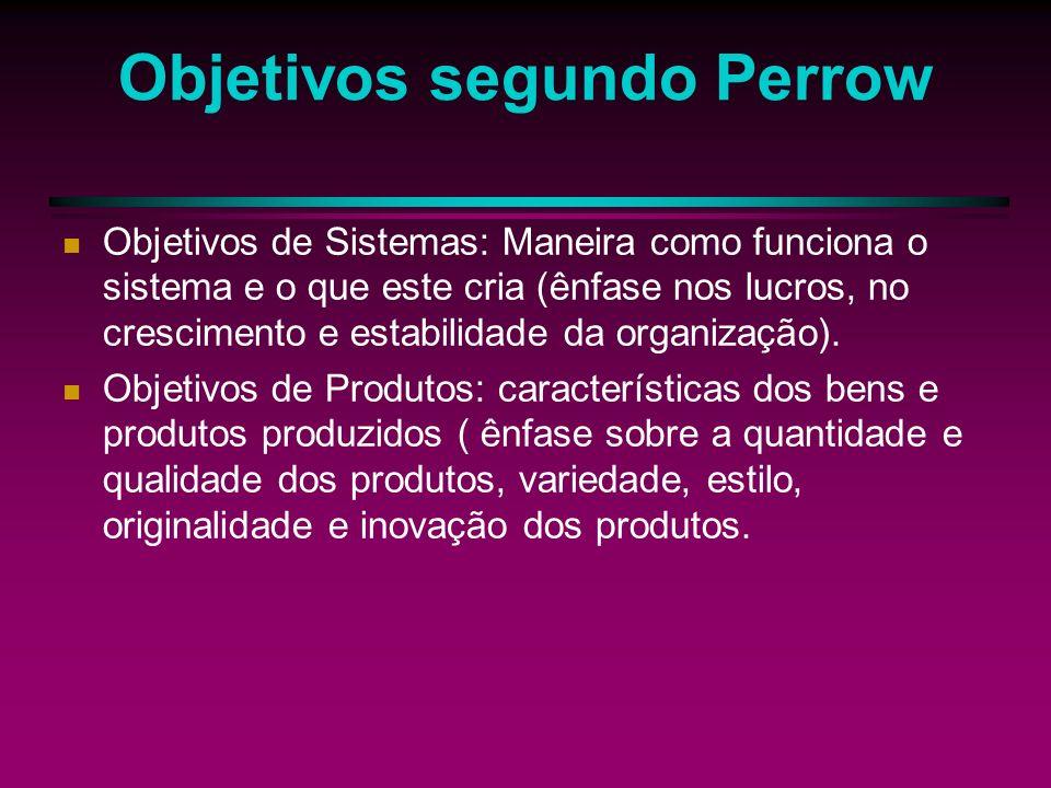 Objetivos segundo Perrow Objetivos da sociedade: sociedade em geral (produção de bens e serviços), procuram preencher as necessidades da sociedade.