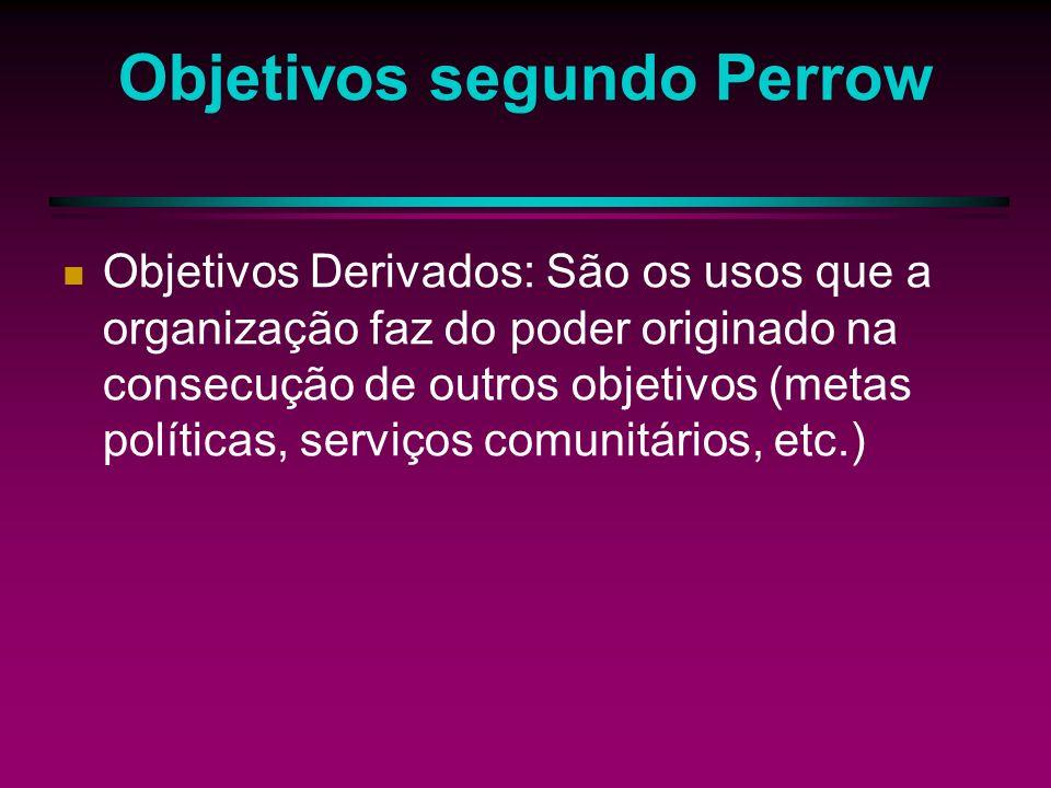 Objetivos segundo Perrow Objetivos de Sistemas: Maneira como funciona o sistema e o que este cria (ênfase nos lucros, no crescimento e estabilidade da organização).