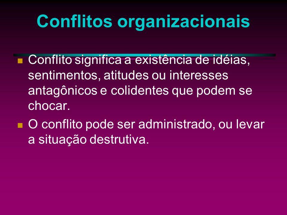 Conflitos Organizacionais Os autores estruturalistas discordam de que haja harmonia de interesses entre patrões e empregados ou de que essa harmonia deveria ser preservada pela administração, através de uma atitude compreensiva e terapêutica.