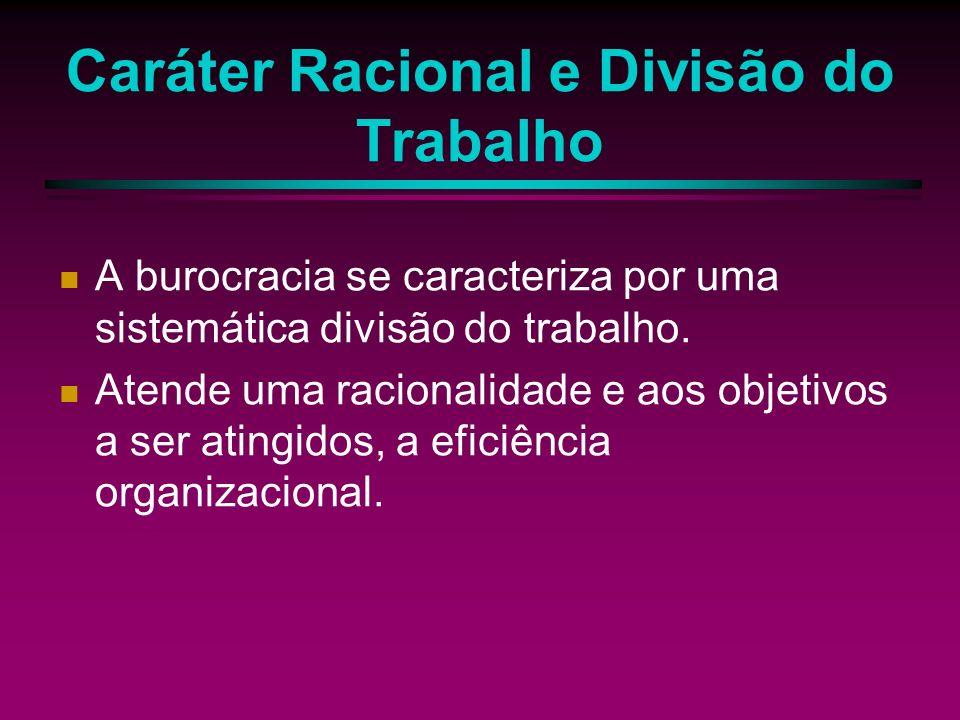 Caráter Racional e Divisão do Trabalho A burocracia se caracteriza por uma sistemática divisão do trabalho.