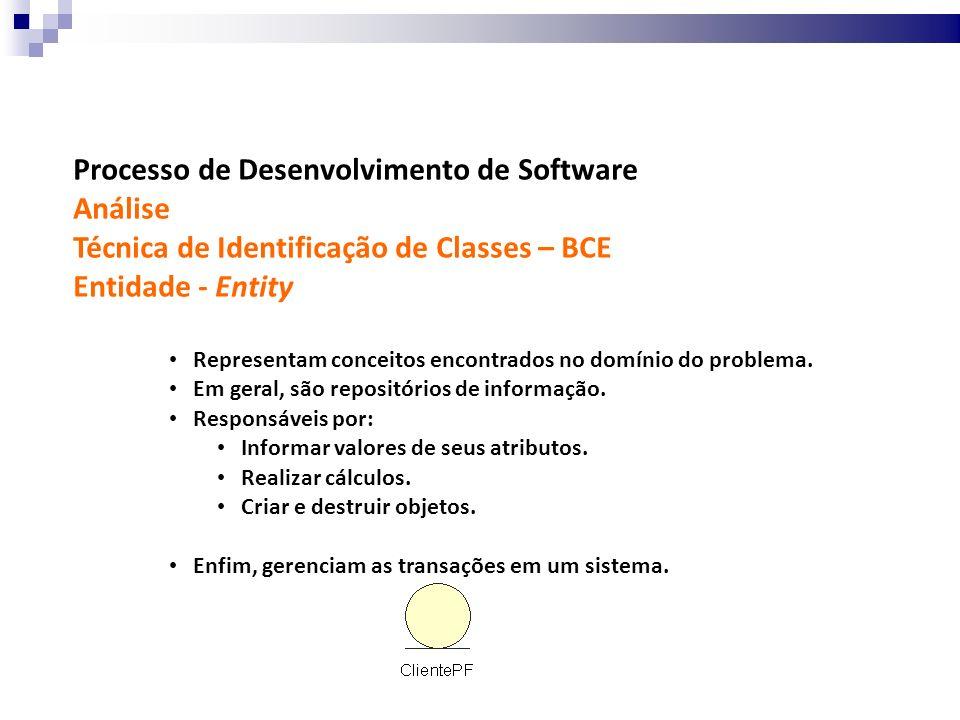 Processo de Desenvolvimento de Software Análise Técnica de Identificação de Classes – BCE Entidade - Entity Representam conceitos encontrados no domín