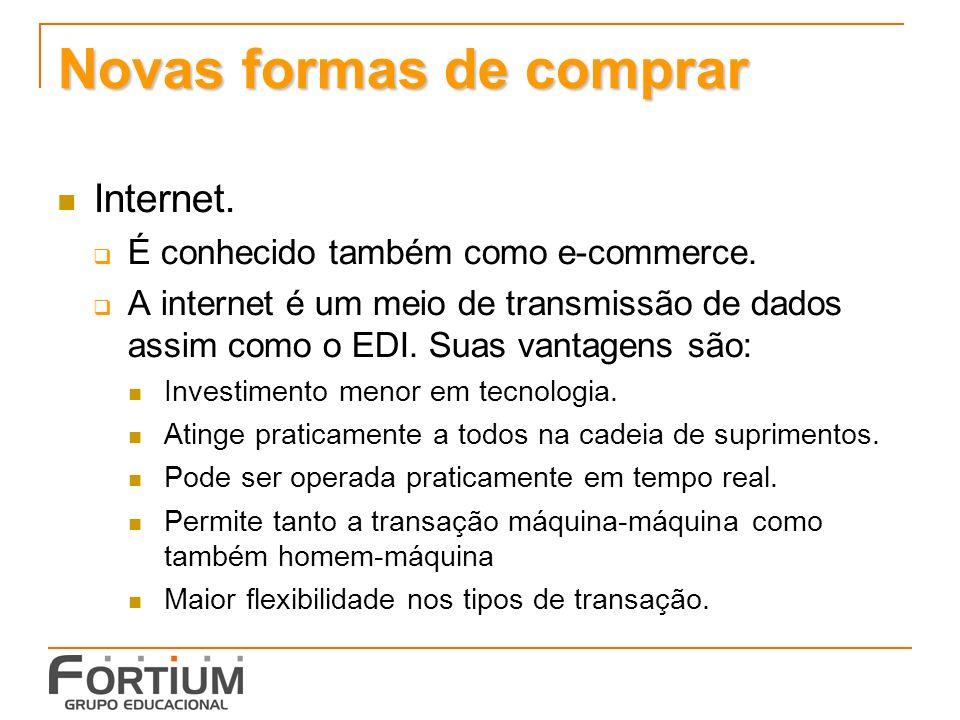 Novas formas de comprar Internet. É conhecido também como e-commerce.