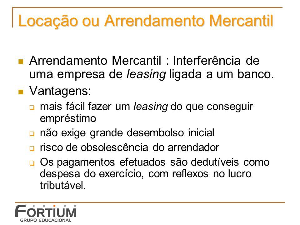 Locação ou Arrendamento Mercantil Arrendamento Mercantil : Interferência de uma empresa de leasing ligada a um banco.