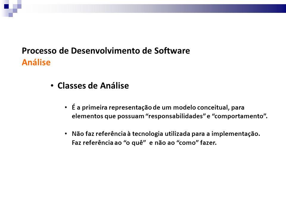 Processo de Desenvolvimento de Software Análise Classes de Análise É a primeira representação de um modelo conceitual, para elementos que possuam resp