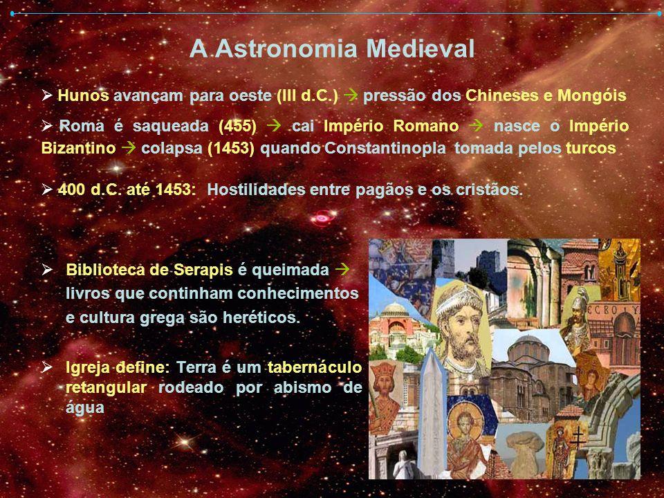 A Astronomia Medieval Biblioteca de Serapis é queimada livros que continham conhecimentos e cultura grega são heréticos. Igreja define: Terra é um tab