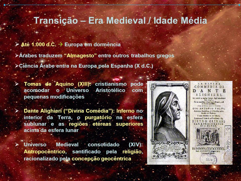 Transição – Era Medieval / Idade Média Tomas de Aquino (XIII): cristianismo pode acomodar o Universo Aristotélico com pequenas modificações Dante Alig