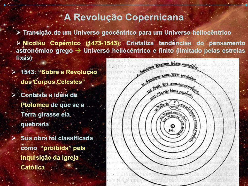 A Revolução Copernicana 1543: Sobre a Revolução dos Corpos Celestes Contesta a idéia de Ptolomeu de que se a Terra girasse ela quebraria Sua obra foi