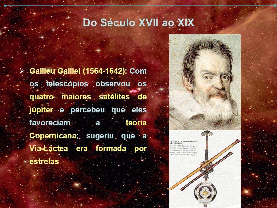 Do Século XVII ao XIX Galileu Galilei (1564-1642): Com os telescópios observou os quatro maiores satélites de júpiter e percebeu que eles favoreciam a