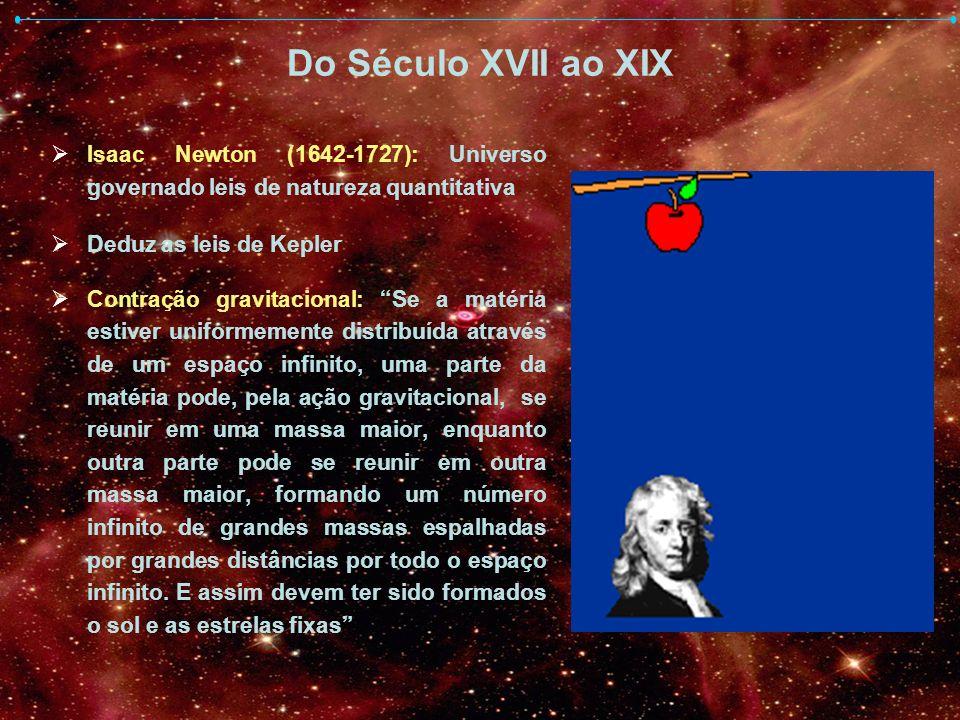 Do Século XVII ao XIX Isaac Newton (1642-1727): Universo governado leis de natureza quantitativa Deduz as leis de Kepler Contração gravitacional: Se a