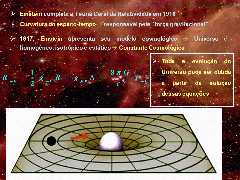 Einstein completa a Teoria Geral da Relatividade em 1916 Curvatura do espaço-tempo responsável pela força gravitacional 1917: Einstein apresenta seu m