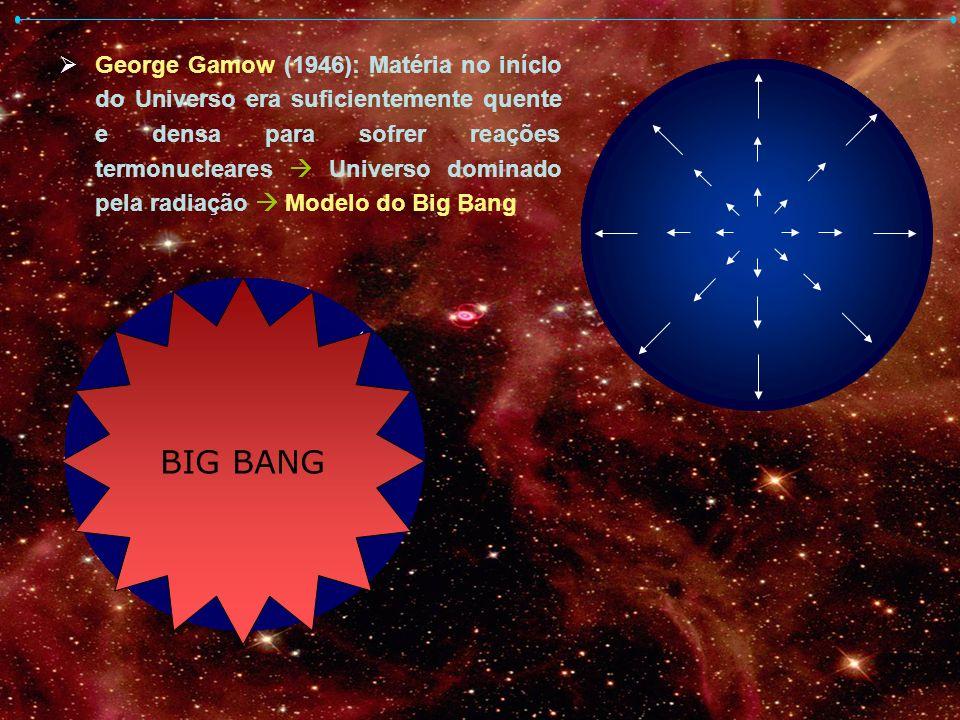 George Gamow (1946): Matéria no início do Universo era suficientemente quente e densa para sofrer reações termonucleares Universo dominado pela radiaç