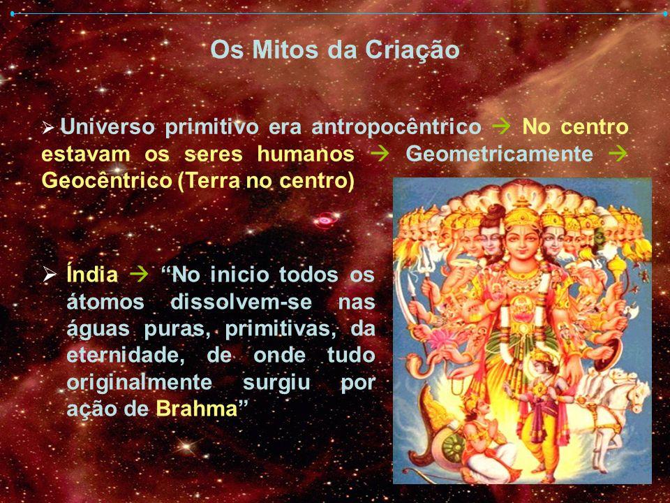 Os Mitos da Criação Índia No inicio todos os átomos dissolvem-se nas águas puras, primitivas, da eternidade, de onde tudo originalmente surgiu por açã