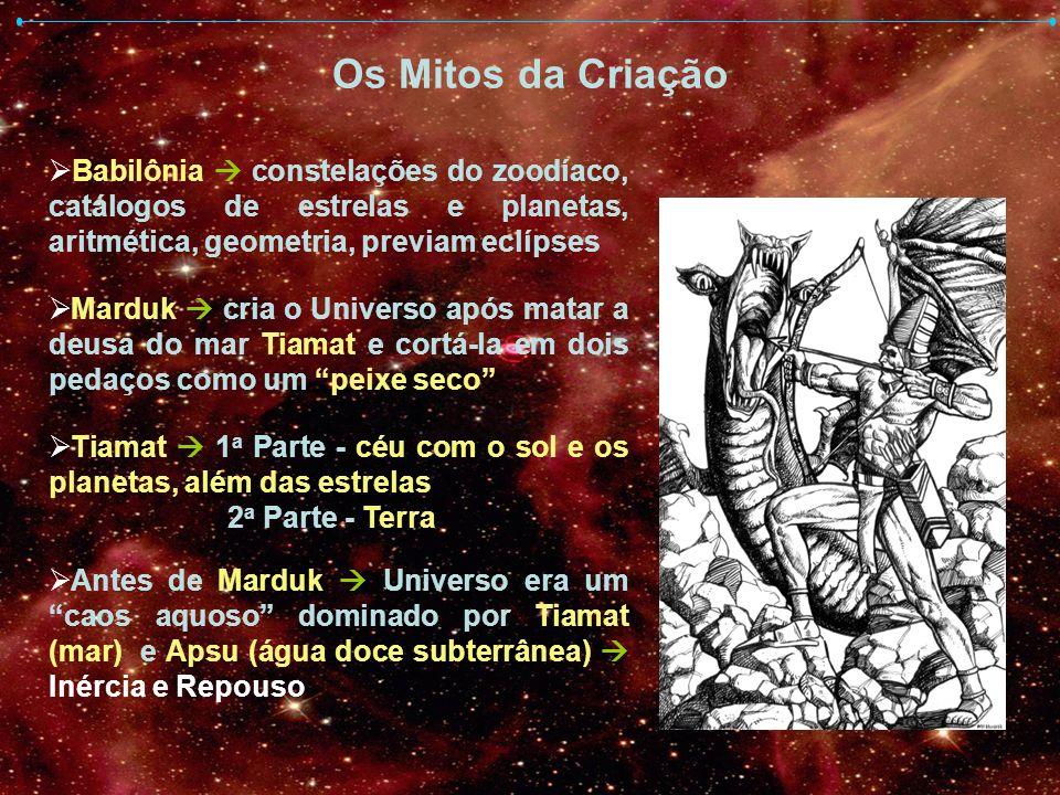 Os Mitos da Criação Grécia No começo existiam Nyx (noite) e Érebo coexistiam no seio caos desorganização Obscuridade da noite (no alto) e dos infernos (embaixo) Érebo liberta Nyx se encurva formando uma esfera cujas metades se separam Abóboda Celeste e Terra Céu e Terra (Urano / Gaia) possuem realidade material ligados por Éros (amor) natureza espiritual coesão do Universo e inicio das gerações divinas