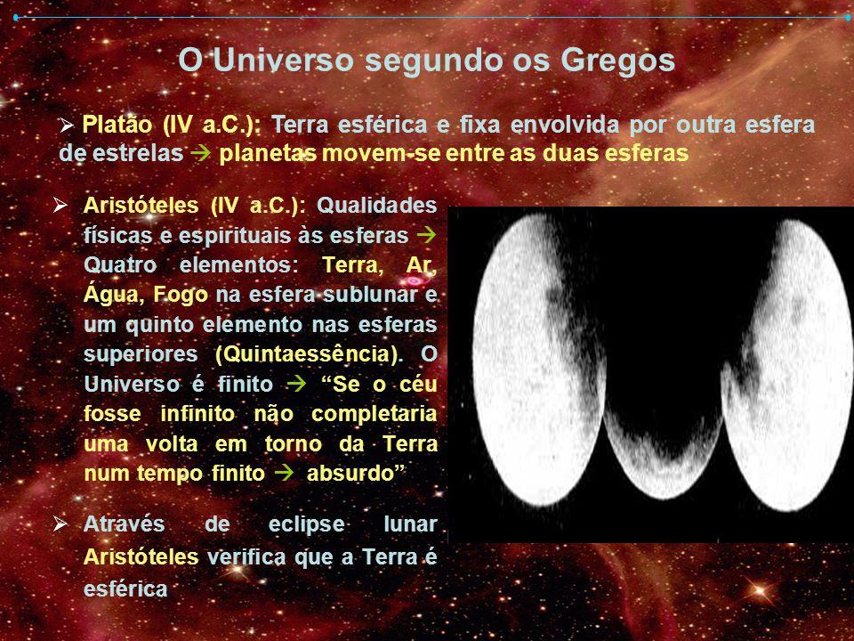 O Universo segundo os Gregos Aristóteles (IV a.C.): Qualidades físicas e espirituais às esferas Quatro elementos: Terra, Ar, Água, Fogo na esfera subl