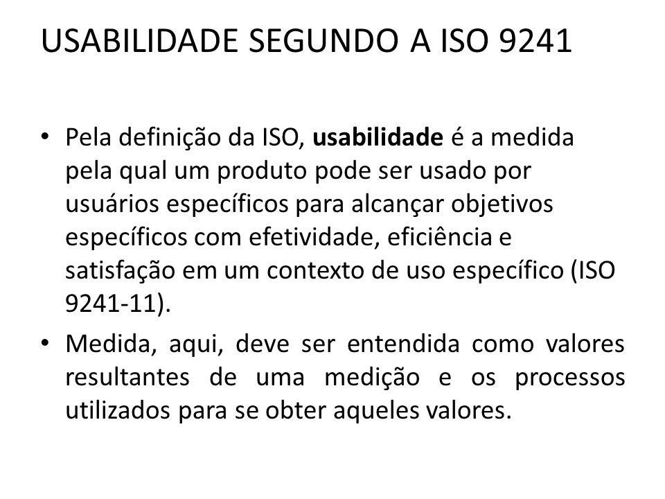 USABILIDADE SEGUNDO A ISO 9241 Pela definição da ISO, usabilidade é a medida pela qual um produto pode ser usado por usuários específicos para alcança