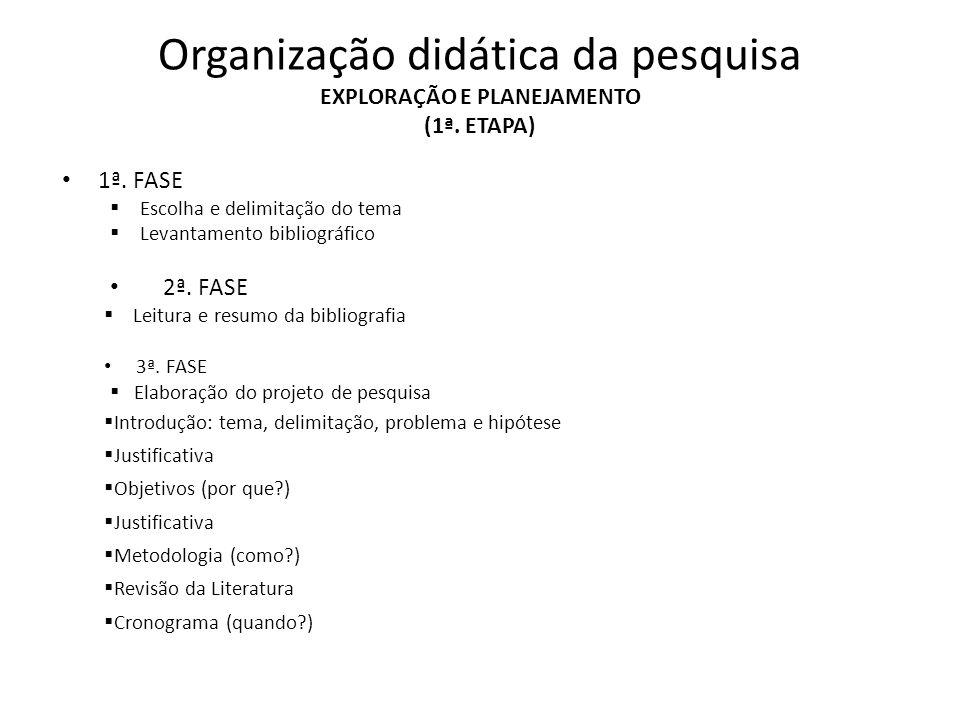 Organização didática da pesquisa EXPLORAÇÃO E PLANEJAMENTO (1ª. ETAPA) 1ª. FASE Escolha e delimitação do tema Levantamento bibliográfico 2ª. FASE Leit