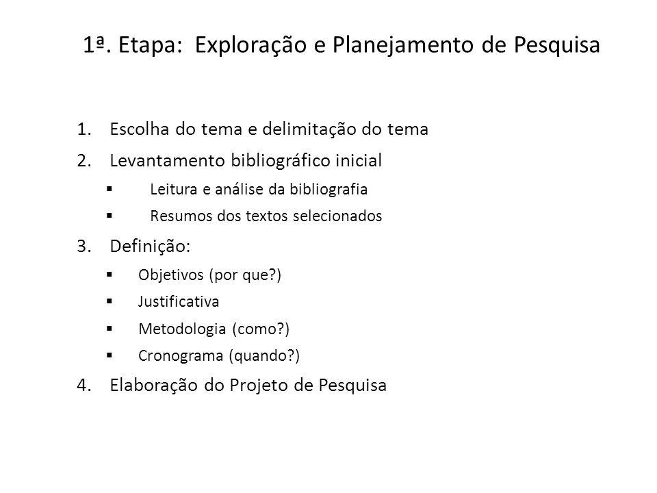 1ª. Etapa: Exploração e Planejamento de Pesquisa 1.Escolha do tema e delimitação do tema 2.Levantamento bibliográfico inicial Leitura e análise da bib