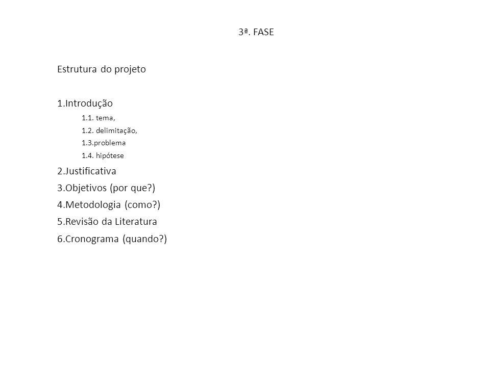 3ª. FASE Estrutura do projeto 1.Introdução 1.1. tema, 1.2. delimitação, 1.3.problema 1.4. hipótese 2.Justificativa 3.Objetivos (por que?) 4.Metodologi