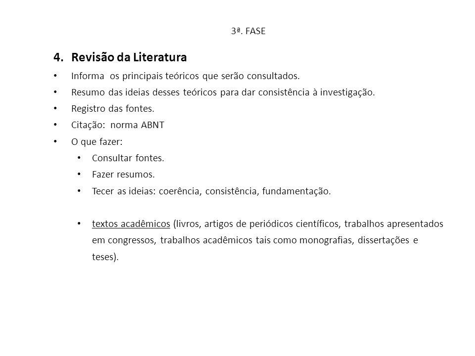3ª. FASE 4.Revisão da Literatura Informa os principais teóricos que serão consultados. Resumo das ideias desses teóricos para dar consistência à inves