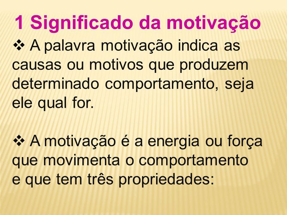 Direção: o objetivo do comportamento motivado ou a direção para a qual a motivação leva o comportamento.