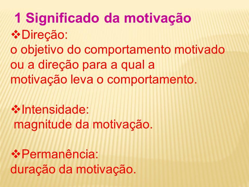 Direção: o objetivo do comportamento motivado ou a direção para a qual a motivação leva o comportamento. Intensidade: magnitude da motivação. Permanên