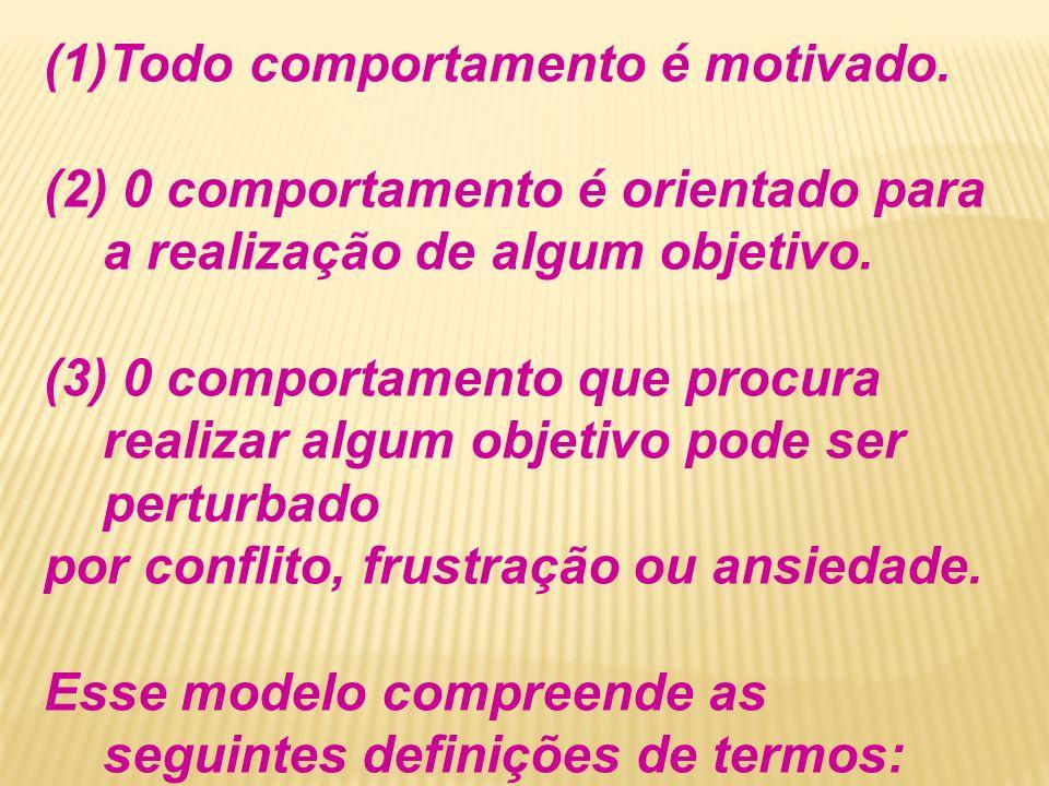 (1)Todo comportamento é motivado. (2) 0 comportamento é orientado para a realização de algum objetivo. (3) 0 comportamento que procura realizar algum