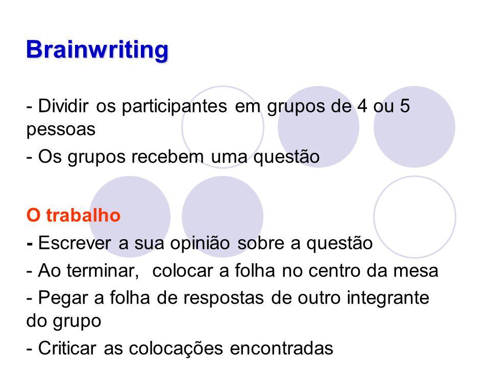 Brainwriting - Dividir os participantes em grupos de 4 ou 5 pessoas - Os grupos recebem uma questão O trabalho - Escrever a sua opinião sobre a questã